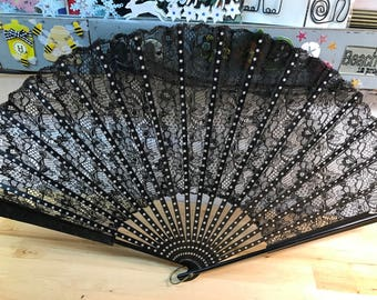 Hand Fan Black Lace Vintage