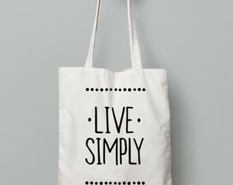 Live simply print, Quote tote bag shopping, yoga tote bag, printed tote bag, Gift for yogi, Cotton tote bag, Shopping bag, tote bag for mom