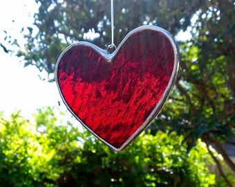 Red Heart Stained Glass Suncatcher Valentine Gift for Her Home Decor Housewarming Hanging Garden Decoration Glass Art Window Ornament