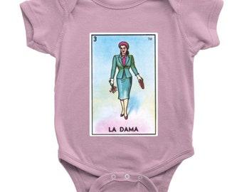 La Dama Card Loteria Baby Onesie Little Lady Mexican Bingo Bodysuit
