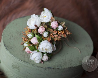 Floral  Halo, White Rose, Headpiece, size Sitter & up