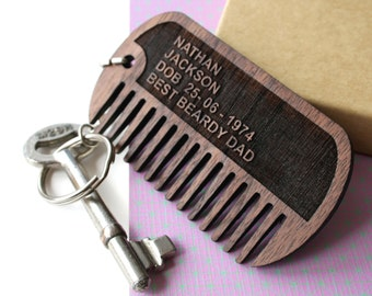 Dog tag comb - gift for men - wooden beard comb - personalised keyring - Personalised comb for men - Custom Dad gift - engraved beard comb