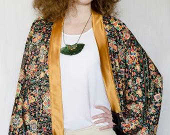 Black fringe boho chic kimono jacket  Long sleeves kimono  Frida Kahlo ethnic clothing  Gypsy festival kimono cardigan  Oversized kimono