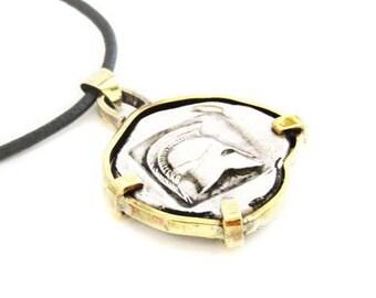 Ancient coin pendant - Silver coin pendant - Silver Bronze  pendant - Coin jewelry - Ancient silver coin pendant - Ancient Greek design