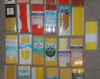 Vintage Sewing Trim & Zippers - Orange, Peach, Tango, Yellow, Gold, Mimosa