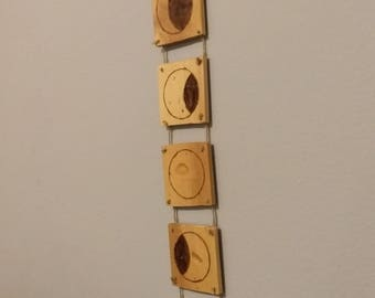 Lunar Phase Wall Hanging - Wood Burned Moon - Pyrography - Pine Plank Wood Art