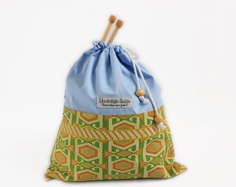 Knitting project bag, African fabric drawstring bag, African fabric bag, African drawstring bag, UK knitting, knitting gift, gifts for knitt