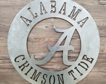 Attractive Alabama Crimson Tide Circle With Metal A Logo (Home Decor, Football, Sports,