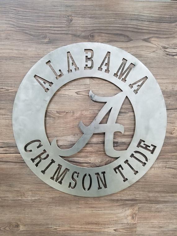 Alabama Crimson Tide Circle With Metal A Logo Home Decor