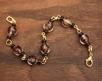 up-cycled purple & gold vintage Venetian glass bead bracelet