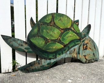 Birthday Gift/Mother's Day gift Idea, Turtle Wood Decor, Beach House, Wooden Turtle Wall Art. Outdoor wall decor, Housewarming Gift Idea