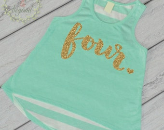 Fourth Birthday Shirt Girl Four Year Old Birthday Shirt 4 Birthday Shirt Girl 4th Birthday Outfit Girl Green Tank Top 102