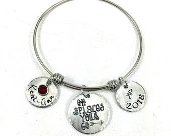 Graduation Bracelet, Graduation Bangle, Oh the Places You Will Go, Custom Personalized Grad Gift, College Student Gift, Graduate Name