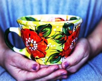 Pottery cup Mothers Day Flower mug Easter gift, Coffee Pottery mug Colorful mug Ceramic cup Tea cup  Coffee Mug Soup  Ceramic mug Pottery