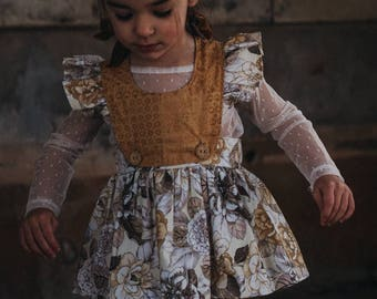 Handmade limited edition vintage pinafore with removable bib for toddler/girls