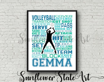 Personalized Volleyball Setter Poster Typography, Volleyball Team Gift Volleyball Print, Volleyball Art, Gift for Volleyball Setter