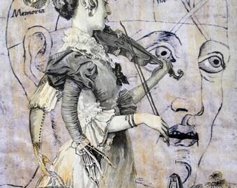 Euterpe The Muse - Original Fantasy Collage Art ( High-Quality Print )