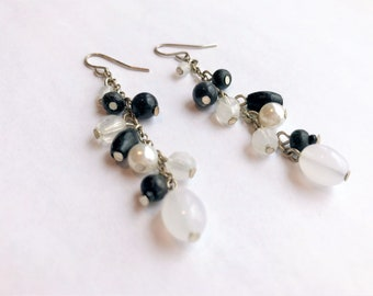 Black & Crystal Glass and Wooden Bead Silver Cluster Earrings