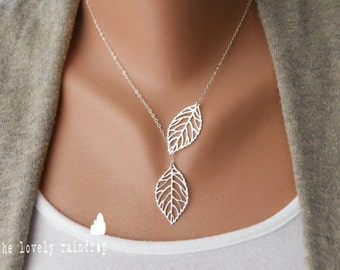 SALE - Leaf Lariat - silver grey white dainty leaf pendants - sterling silver- Wedding Jewelry - Bridal Jewelry - Simple Everyday - Gift For