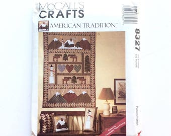 McCall's 8327, Christmas Stocking, Pillows, Wall Hanging Pattern, American Tradition, Snowman, Winter Wall Hanging, Vintage Uncut Pattern