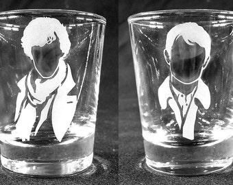 Custom Etched SHERLOCK 2oz shot glasses (Sherlock and Watson) - Set of 2!