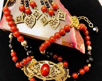 Neckace and Earring set with Black, Red, and Goldtone Beads Filagree Accents