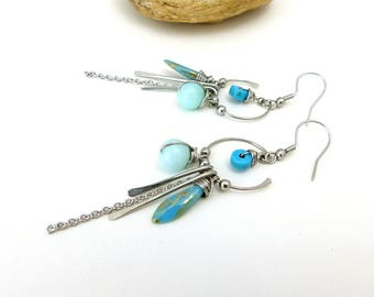 Tribal blue earrings , Czech glass, amazonite and stainless steel