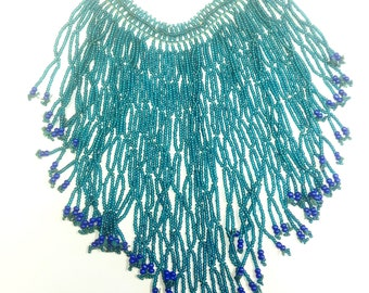 Vintage, flapper style, fringed, seed bead bib necklace.