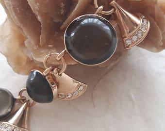 Smoky quartz crystal gemstone bracelet and charms