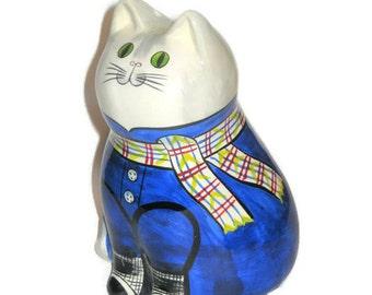 Vintage Cat Figurine Baking Soda Air Freshner Porcelain Figure Ceramic Kitty Shaker Parmesan Cheese Blue Jean Kitchen Container Fridge