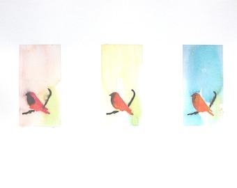 Original Watercolor Painting, Not Print, Three Birds Mix Colors, 11052012014mVGV3XX