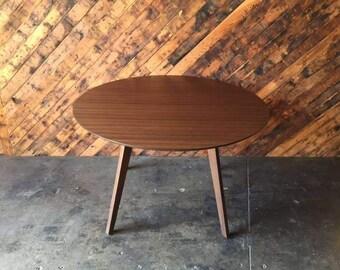 Custom Mid Century Style Round Walnut Table