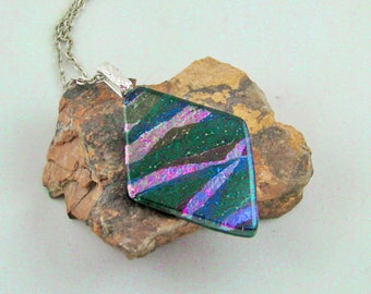 Iridescent Black Diamond - Fused Glass Pendant/Necklace