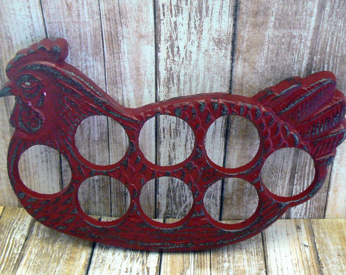 Rooster Red Egg Holder Cast Iron Shabby Chic Farmhouse Kitchen Display for Eggs