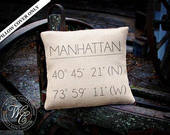 Latitude Longitude, GPS pillow, long distance gift, custom coordinates, gps coordinates, going away present, moving away gift