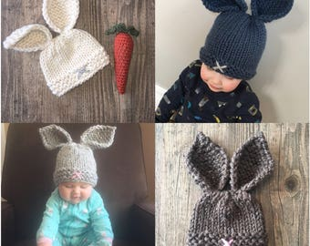 Pick Your Own - Bunny Hat w Optional Carrot - Baby - Toddler - Child - Newborn Prop - Photography - Easter - Spring - Amy Nicole Designs