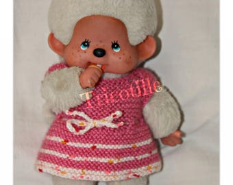 Pink and white dress for kiki or 20 cm doll