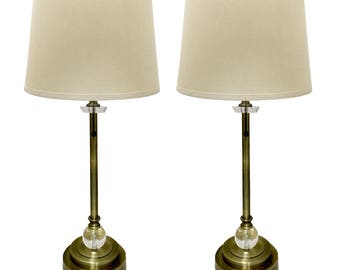 Royal Designs   Set Of 2 Buffet Lamps In Antique Brass With Linen Cream  Hard Back