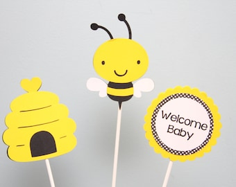 Bumble Bee and Bee Hive Centerpiece Picks-Set of 3
