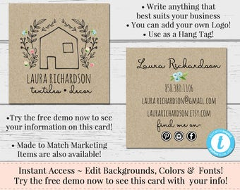 Square business cards etsy cottage square business card editable business card square business card template diy business card farmhouse card kraft business card reheart Images