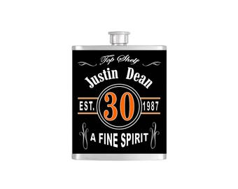Over The Hill 30th Birthday Flask By Bottoms Up Flasks  - Stainless Steel 7 oz Liquor Hip Flasks - Flask #287