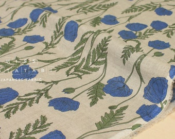 Japanese Fabric 100% linen Poppies - blue, green -  50cm
