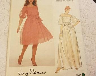 Vintage Jerry Silverman American Designer Vogue Pattern #2983 Women's Size 12 14 16