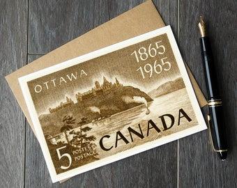 Ottawa Canada birthday, Ottaw Canada cards, Parliament Buildings, Ottawa retirement card, Canada Postage Stamp, Canada Stamp Art, Canada 150