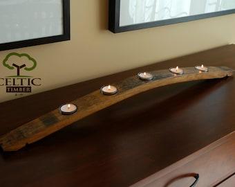 Oak Stave Tea Candle Holder