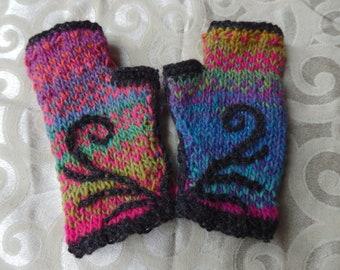 Dawn Loves Dusk handknit enbroidered Noro Wristlets-small, medium