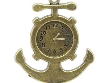 Anchor and (x 1) bronze metal clock charm/pendant
