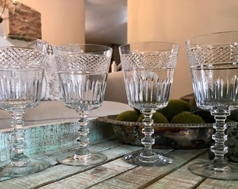 Crystal Wine Glasses Set of Four Wafer Stem Criss Cross Band Cut Vertical Cut Wedding TYCAALAK