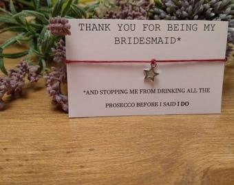 Bridesmaid thank you bracelet