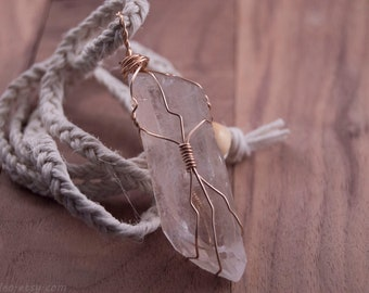 Wire-wrapped Quartz | Crystal Necklace | Gold